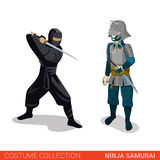 Ninja Samurai Japanese warrior battle fighters couple Stock Photo
