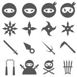 Ninja, samurai and weapons vector icons set. Ninja, samurai and weapons icons set. Weapon and samurai, sword japanese, blade traditional, vector illustration Stock Images