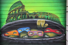 Ninja-Schildkrötengraffiti stockfoto