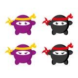 Ninja. A set of cute, round ninja illustrations Stock Images