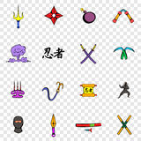 Ninja set icons Stock Photography