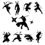 Ninja Shadow konturvektor Royaltyfri Bild
