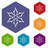 Ninja shuriken star weapon icons set hexagon Stock Photo