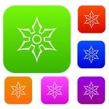 Ninja shuriken star weapon set color collection Royalty Free Stock Photography