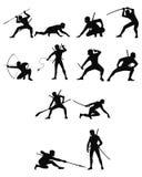 Ninja silhouettes set Royalty Free Stock Photo