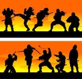 Ninja at sinrise. Vector illustration. Royalty Free Stock Photography