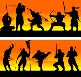 Ninja at sinrise. Vector illustration. Royalty Free Stock Images