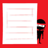 Ninja spying. Vector illustration of cartoon ninja hiding and spying. Place for text on a white background. Red, black and white colors Stock Photography