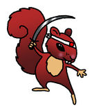 Ninja Squirrel. A fun and whimsical representation of a squirrel as a ninja vector illustration