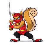 Ninja Squirrel Arkivbild