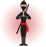 Ninja standing in pose accented by red rays. Warrior in peaceful stances surrounded by red beams of light Stock Images