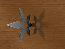 Ninja star. Stabbed into the wooden wall stock illustration