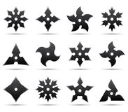 Ninja stars. Twelve different ninja stars on white background Stock Image