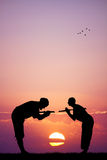 Ninja at sunset. Illustration of samurai ninja at sunset Stock Photography