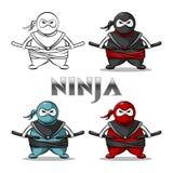 Ninja support. Kung fu vector illustration