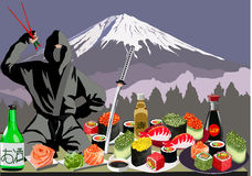 Ninja, sushi and Mount Fuji, vector illustration Royalty Free Stock Photos
