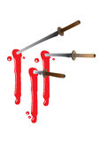 Ninja swords with blood Stock Photos