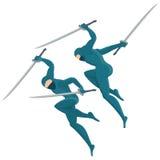 Ninja with swords Royalty Free Stock Photo