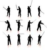 Ninja sylwetki kolekcja Fotografia Stock