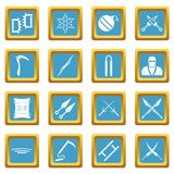 Ninja tools icons azure. Ninja tools icons set in azur color isolated vector illustration for web and any design Royalty Free Stock Photography