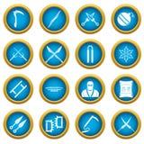 Ninja tools icons blue circle set. Isolated on white for digital marketing Royalty Free Stock Photo