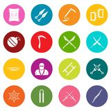 Ninja tools icons many colors set. Isolated on white for digital marketing Stock Photos