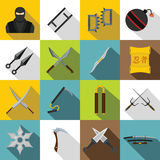 Ninja tools icons set, flat style Stock Photos