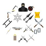 Ninja tools icons set in flat style. Isolated vector illustration Royalty Free Stock Images