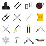 Ninja tools icons set in flat style. Isolated vector illustration Royalty Free Stock Image