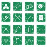 Ninja tools icons set grunge. Ninja tools icons set in grunge style green isolated vector illustration Stock Image