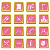 Ninja tools icons pink. Ninja tools icons set in pink color isolated vector illustration for web and any design Royalty Free Stock Image