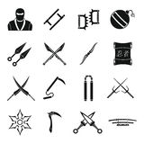 Ninja tools icons set, simple style Royalty Free Stock Photo