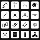 Ninja tools icons set squares vector. Ninja tools icons set in white squares on black background simple style vector illustration Royalty Free Stock Images