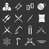 Ninja tools icons set grey vector. Ninja tools icons set vector white isolated on grey background Royalty Free Stock Photo