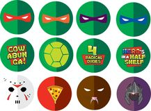 Ninja Turtle Flat Designs Circles. 12 Ninja Turtle Designs.  Buttons designs or T-shirt designs.  Raphael Michelangelo Donatello Leonardo Cowabunga Turtle Shell Stock Images