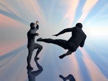 ninja två för 2 slagsmål Arkivbilder