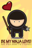 Ninja valentine card. Cute Ninja Valentine's day card with heart and love message Royalty Free Stock Image