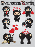 Ninja Valentine's day card Stock Images