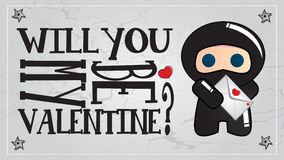 Ninja Valentine's day card Royalty Free Stock Photography