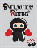 Ninja Valentine's day card Royalty Free Stock Photography