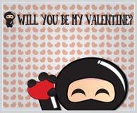 Ninja Valentinstagkarte Lizenzfreie Stockfotos