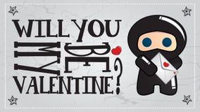 Ninja Valentinstagkarte Lizenzfreie Stockfotografie