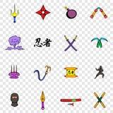 Ninja vastgestelde pictogrammen Stock Fotografie