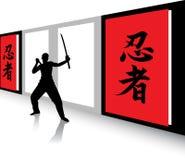 Ninja warrior. Perspective  illustration of a Ninja warrior practicing with tanto and katana in a Dojo with ninja-kanji symbols on the wall panells Royalty Free Stock Photos