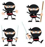 Ninja Warrior Cartoon Character med vapen sänker design Samling royaltyfri illustrationer