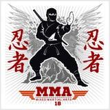 Ninja Warrior Fighter - art martial mélangé Photo stock