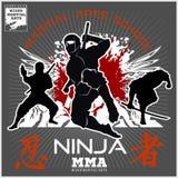 Ninja Warrior Fighter - art martial mélangé Image libre de droits