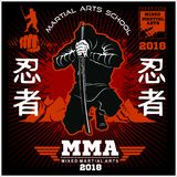 Ninja Warrior Fighter - Mixed Martial Art. Vector illustration on black background Stock Photo