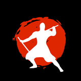 Ninja Warrior Silhouette on red moon and black background. Isolated Vector illustration Royalty Free Stock Photography