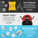 Ninja weapon banner horizontal set, flat style. Ninja weapon banner horizontal concept set. Flat illustration of 3 ninja weapon vector banner horizontal concepts Stock Image